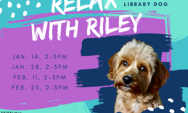 Relax with Riley poster with image of the puppy