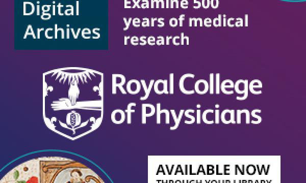 Logo for the Royal College of Physicians, their archives provided by Wiley Digital Archives. Examine 500 years of medical research.